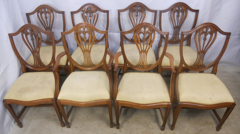Set Of Eight Georgian Style Yew Dining Chairs